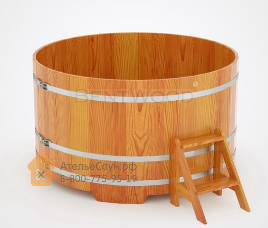 Купель для бани из лиственницы круглая D = 1,8 м (натуральная, полимерное покрытие, H = 1,0 м)