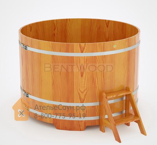 Купель для бани из лиственницы круглая D = 1,8 м (натуральная, полимерное покрытие, H = 1,2 м)