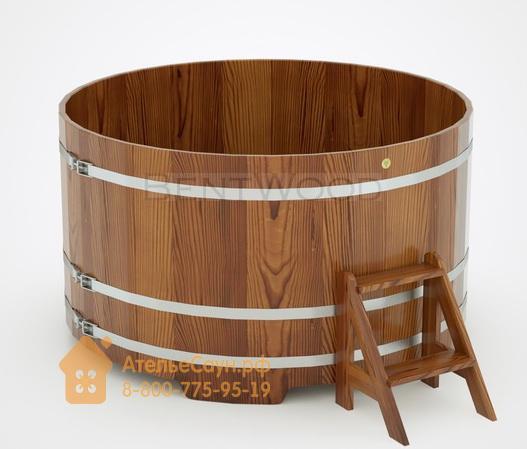Купель для бани из лиственницы круглая D = 2,0 м (мореная, H = 1,0 м)