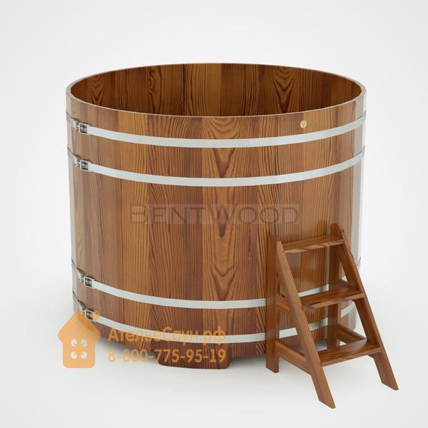 Купель для бани из лиственницы круглая D = 2,0 м (мореная, H = 1,4 м)