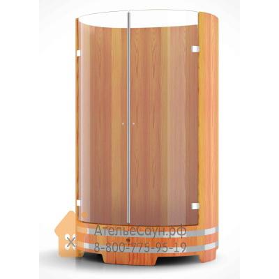 Душевая кабина BentWood со стеклянными дверцами (натуральная лиственница, D = 0,95 м H = 2,0 м)