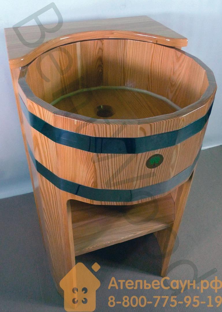 Умывальник-стойка BentWood из натуральной лиственницы угловая (D = 0,5 м H = 0,85 м)