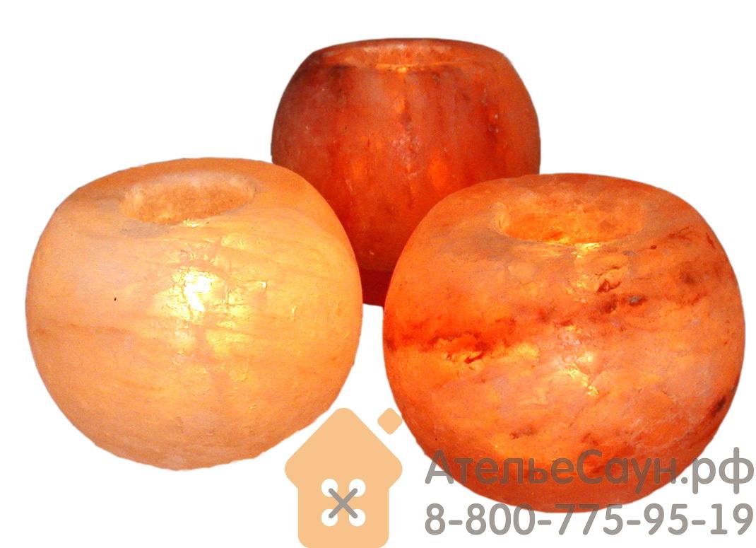 Подсвечник в форме полукруга из гималайской розовой соли 1,2 кг (арт. TK)