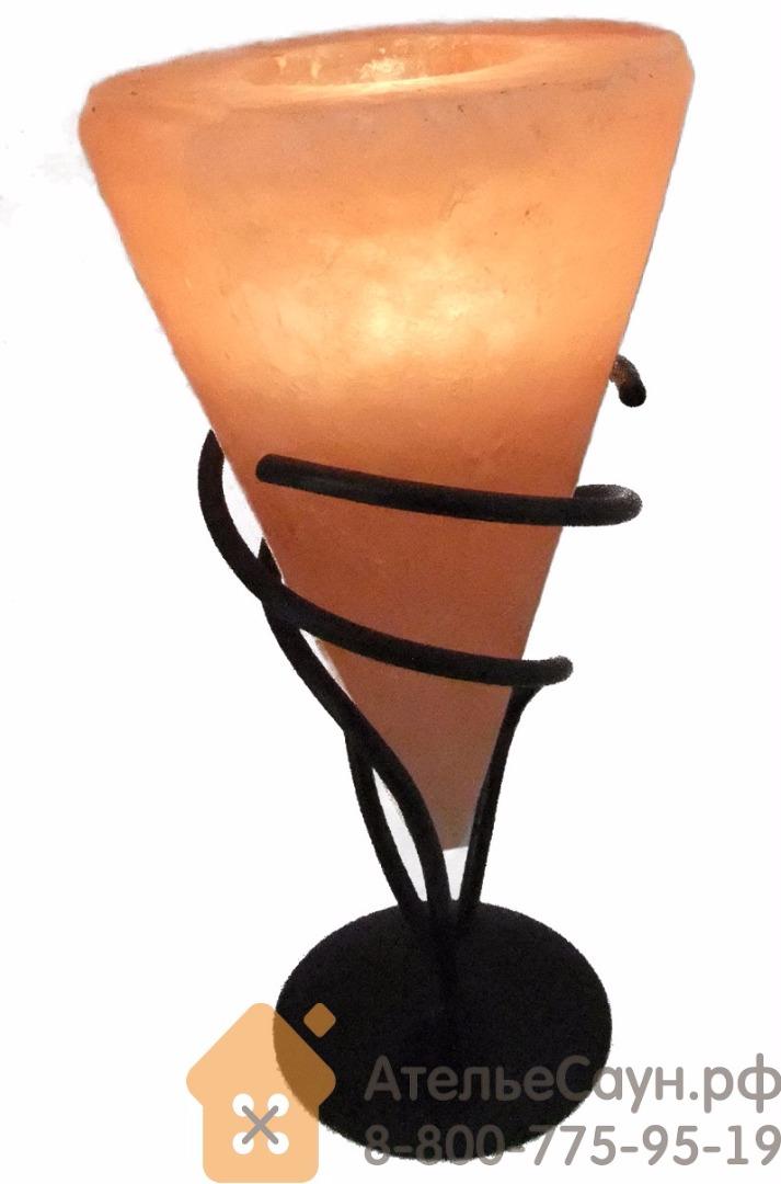 Подсвечник из гималайской розовой соли с металлической подставкой (арт. TM)