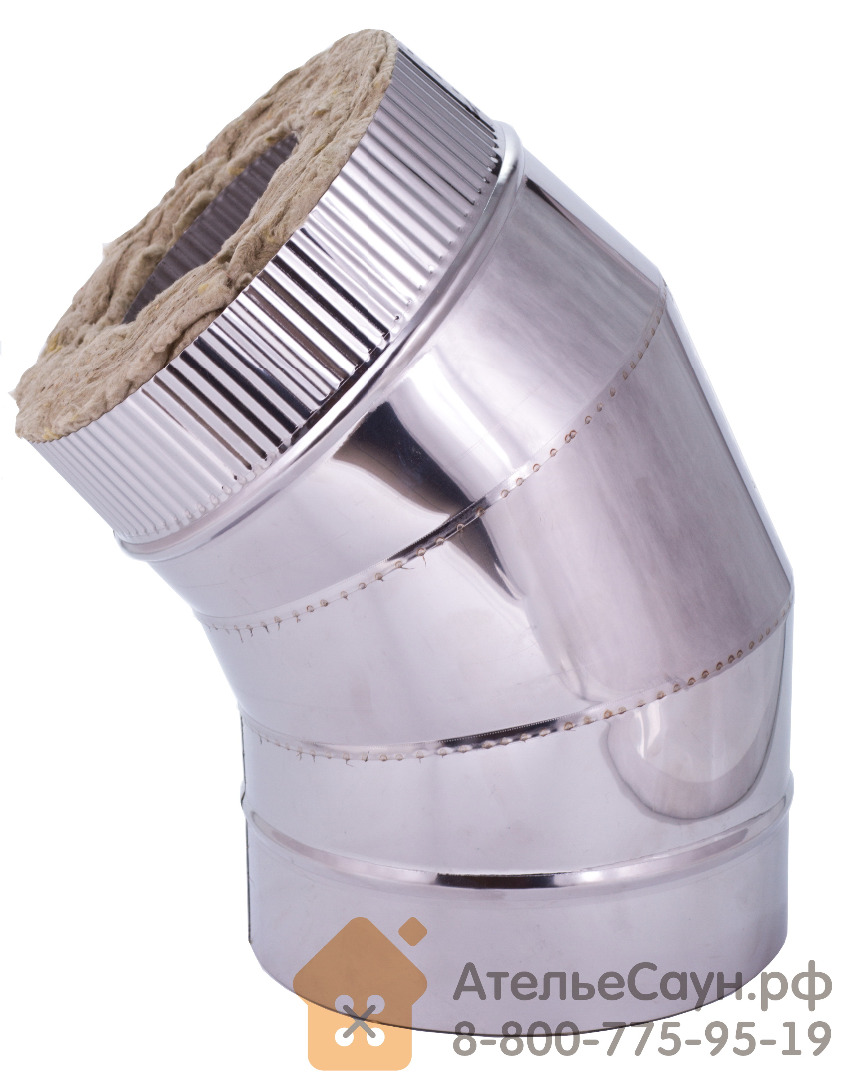 Отвод с изоляцией D120/220 мм угол 45' (нерж. 0,5/0,5 мм AISI 304 внутри)
