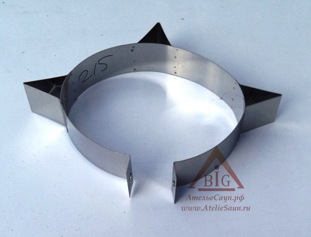 Хомут узкий усиленный D220 мм (нерж. 0,5 AISI 430)