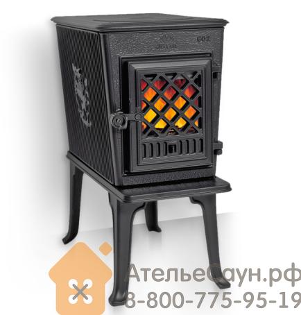 Печь камин Jotul F 602 GD CB BP (чугунная печь, стеклянная дверца, чёрная, экономия дров)