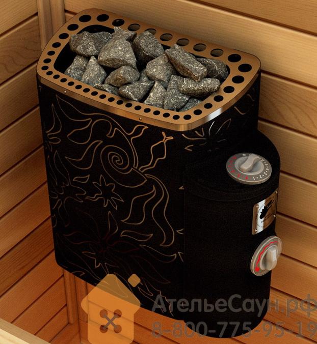 Печь для сауны Sawo MiniDragon MN-23NB-DRF-BL-P (дизайнерская, черная, с термопокрытием, из нержавейки, с пультом)