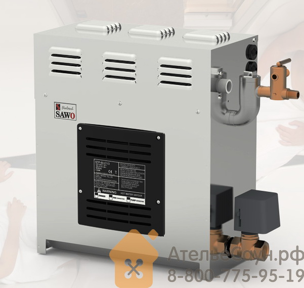 Парогенератор для бани Sawo STP-60-C1/3-DFP-X (БЕЗ пульта, 3 доп. функции, с автоочисткой)