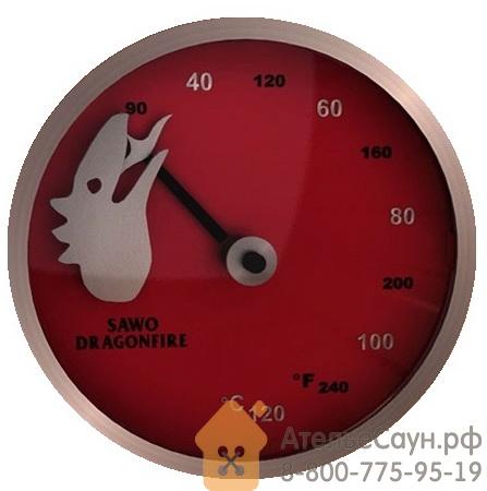 Термометр из стали Sawo Dragonfire FireMeter 232-TM2-DRF (красный, с лазерной гравировкой)