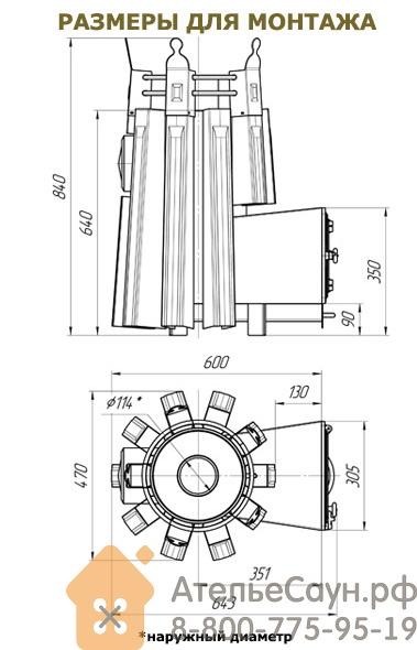 Печь ДобросталЬ Августа стоун стронг со стеклом (черная, с теплообменником справа)
