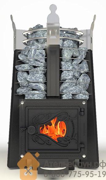 Печь ДобросталЬ Августа Лайт стоун со стеклом (черная)