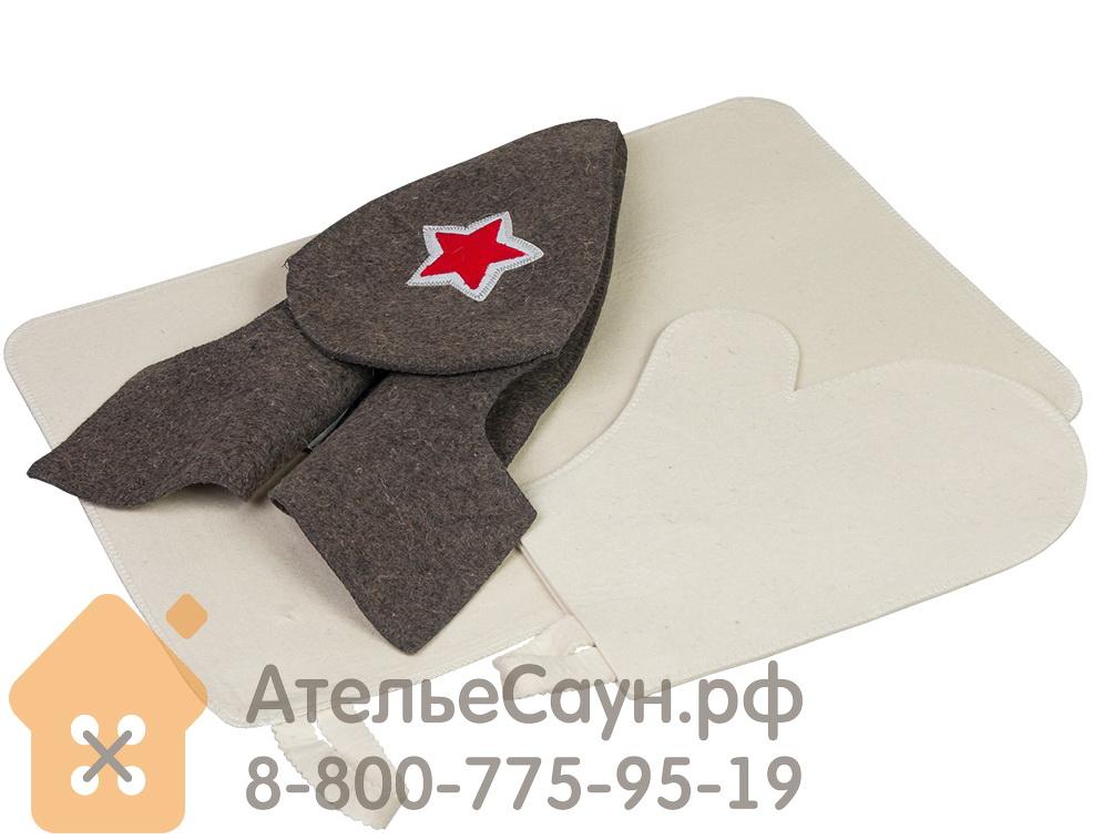Набор из 3-х предметов: шапка Будёновка, рукавица, коврик (войлок 100%, арт. БШ 41096)