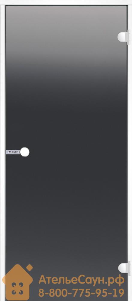 Дверь для хаммам Harvia 7x19 (стеклянная, серая, белая коробка алюминий), DA71902V