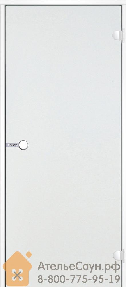 Дверь для хаммам Harvia 7x19 (стеклянная, прозрачная, белая коробка алюминий), DA71904V