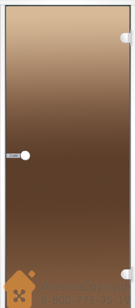 Дверь для хаммам Harvia 9x19 (стеклянная, бронза, белая коробка алюминий), DA91901V