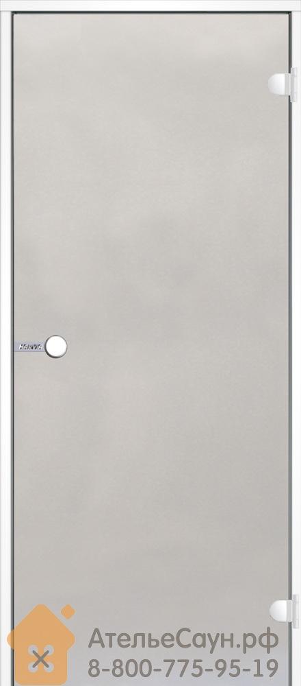 Дверь для турецкой парной Harvia 9x19 (стеклянная, сатин, белая коробка алюминий), DA91905V