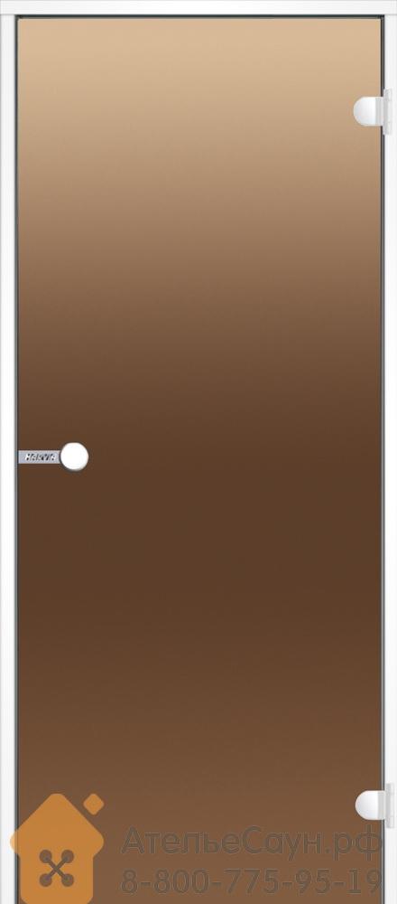 Дверь для турецкой парной Harvia 9x21 (стеклянная, бронза, белая коробка алюминий), DA92101V