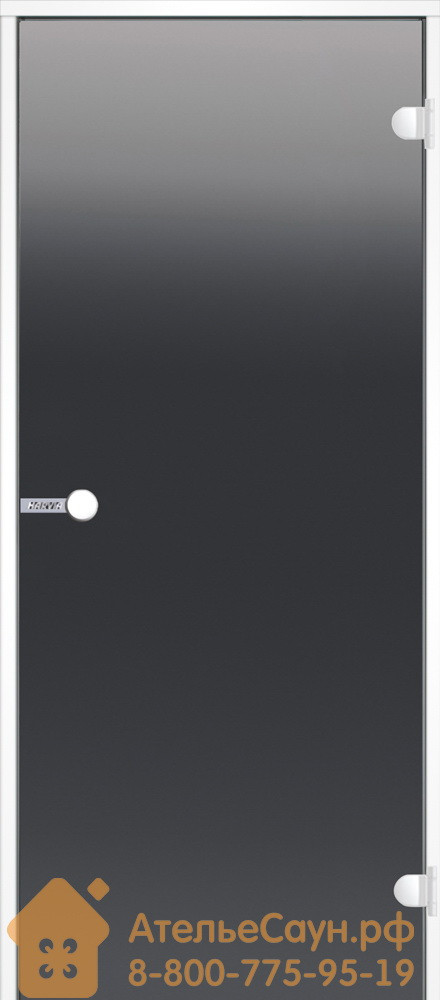 Дверь для турецкой парной Harvia 9x21 (стеклянная, серая, белая коробка алюминий), DA92102V