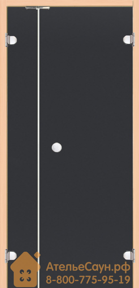 Дверь для сауны Harvia 7х19 (с дополнительной секцией 2х19, стеклянная, серая, коробка ольха), DV9102L
