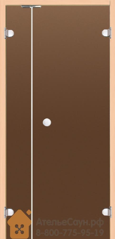 Дверь для сауны Harvia 7х19 (с дополнительной секцией 2х19, стеклянная, бронза, коробка осина), DV9101H