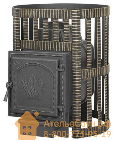 Печь для бани Везувий Легенда Ковка 16 ДТ-4 (без выносной топки, чугунная дверца без стекла)