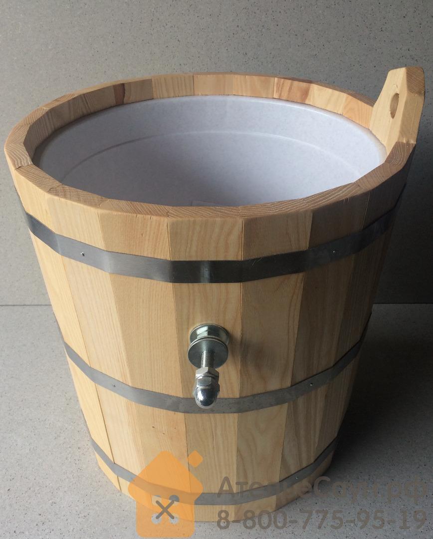 Обливное устройство WoodSon 20 л из ясеня, с пластиковой вставкой