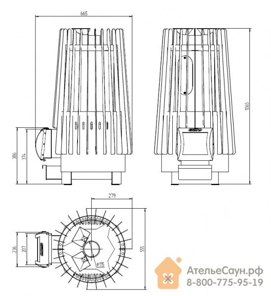 Печь для бани Grill D Cometa 180 Vega (Long black)