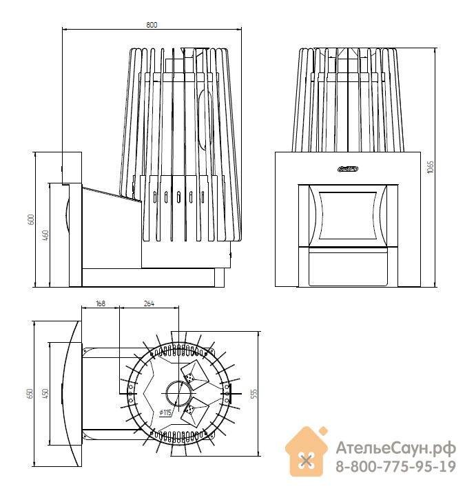 Печь для бани Grill D Cometa 180 Vega (Window black)