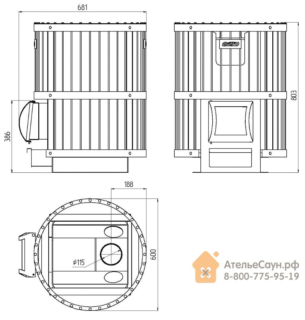 Печь для бани Grill D Leo 240 (Short grey)