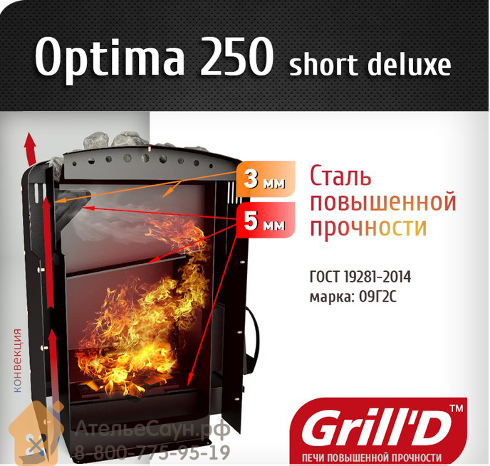 Печь для бани Grill D Оptima 250 (Short deluxe)