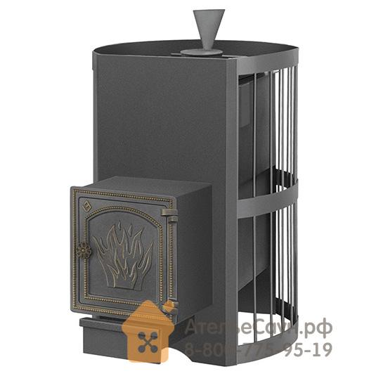 Печь для бани Везувий Скиф Стандарт ДТ-4 с парогенератором (выносная топка, чугунная дверца)