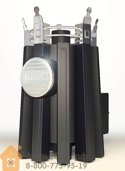 Печь ДобросталЬ Августа стронг со стеклом, топочный канал 180 мм (черная)
