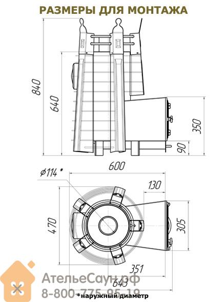 Печь ДобросталЬ Августа стоун стронг со стеклом, топочный канал 180 мм (черная)