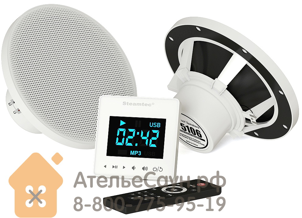 Комплект акустической системы SteamTec TOLO Music system (2 влагостойкие колонки, сенсерный пульт Bluetooth/USB/SD, IP67, работает автономно)