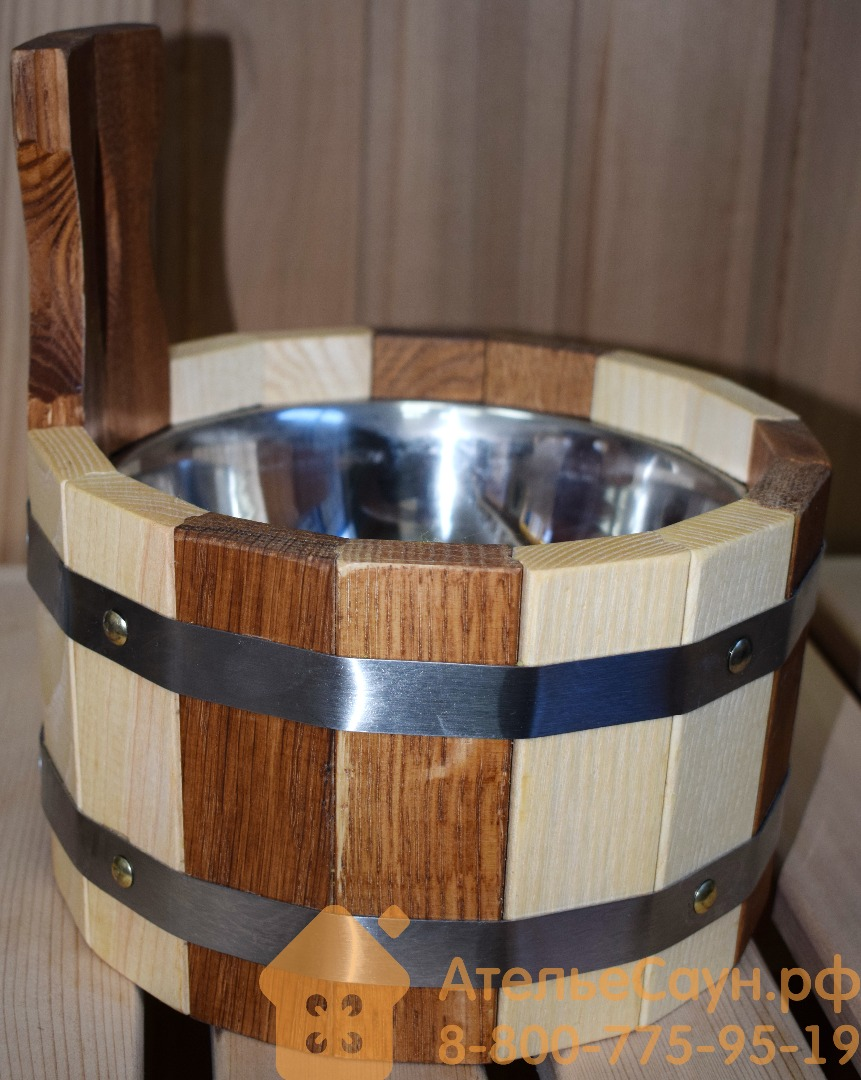Ковш WoodSon 2 л из дуба и ясеня, с нержавеющей вставкой