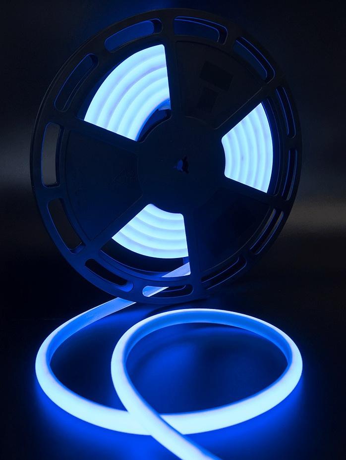 Термостойкая светодиодная лента для сауны и бани SWG SMD 2835 синий свет (термолента 5 м, 180 LED/м, 12 Вт/м, 24В , IP68, до 100 С)