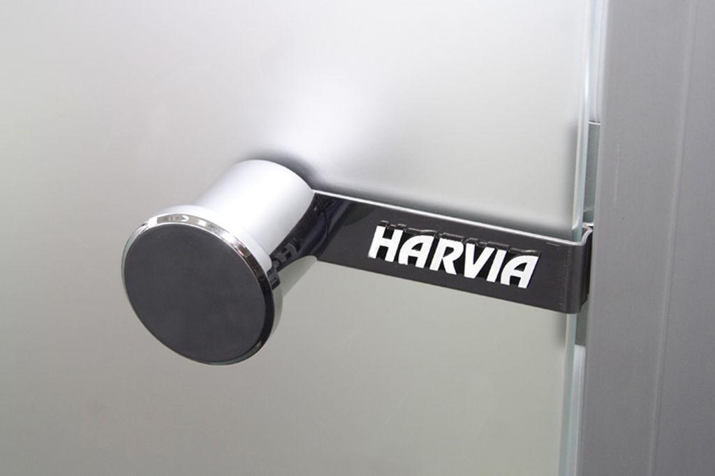 Дверь для сауны Harvia 8х19 (стеклянная, серая, коробка сосна), D81902M