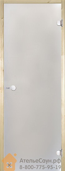 Дверь для сауны Harvia 8х19 (стеклянная, сатин, коробка ольха), D81905L