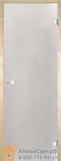Дверь для сауны Harvia 9х19 (стеклянная, сатин, коробка осина), D91905H