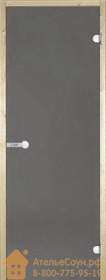 Дверь для сауны Harvia 8х21 (стеклянная, серая, коробка сосна), D82102M