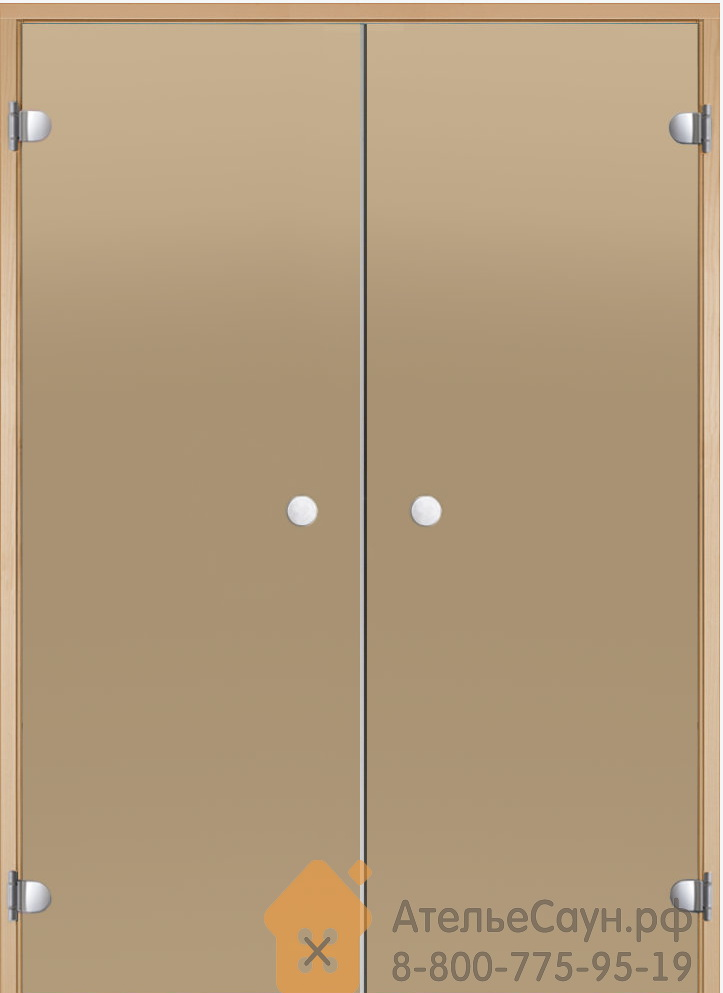 Дверь для сауны Harvia 13х19 (двойная, стеклянная, бронза, коробка ольха/осина)