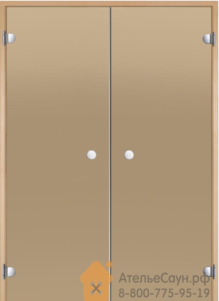 Дверь для сауны Harvia 15х19 (двойная, стеклянная, бронза, коробка ольха/осина)