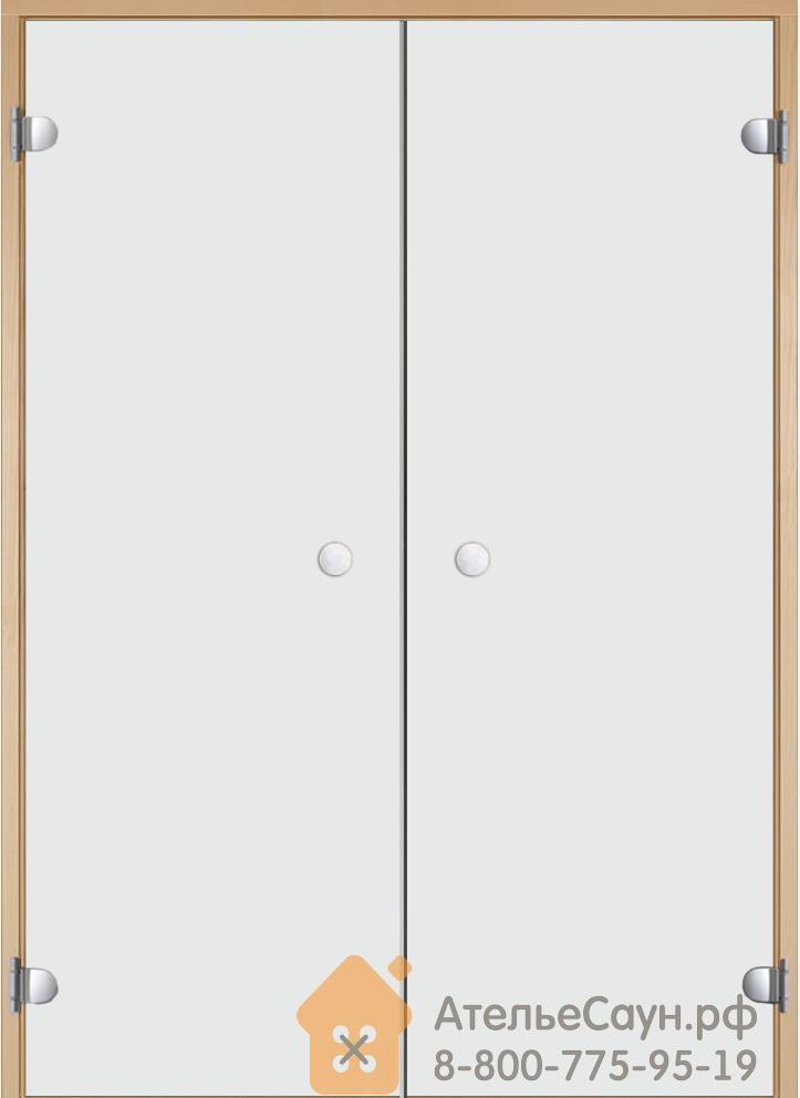 Дверь для сауны Harvia 15х19 (двойная, прозрачная, коробка ольха/осина)