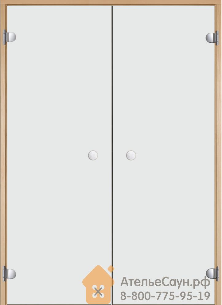 Дверь для сауны Harvia 17х19 (двойная, прозрачная, коробка ольха/осина)