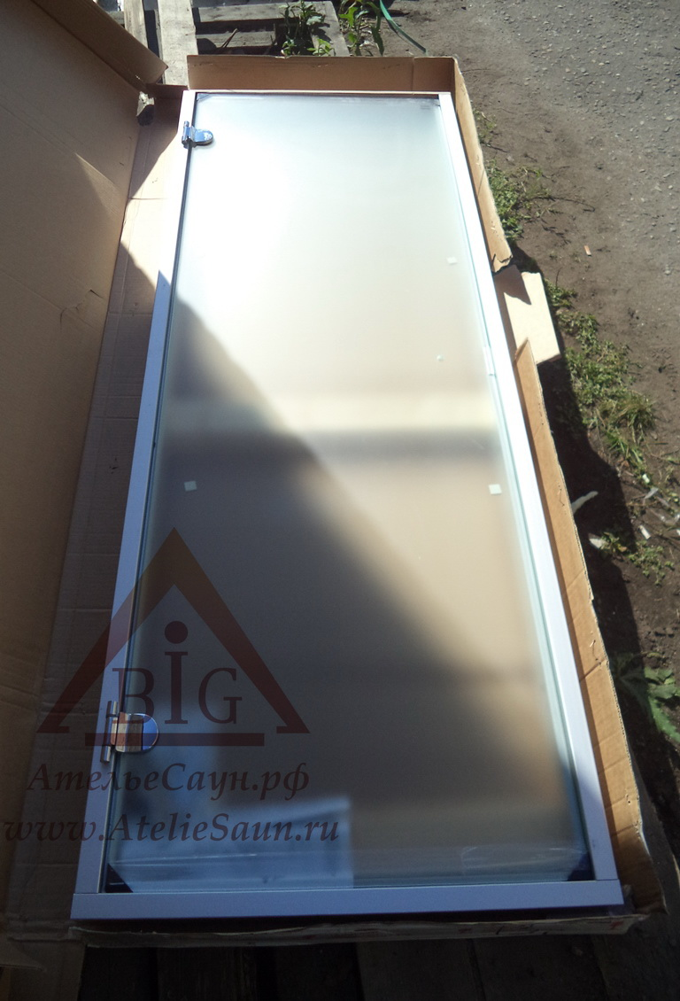 Дверь для турецкой парной Harvia 7х19 (стеклянная, сатин, коробка алюминий), DA71905