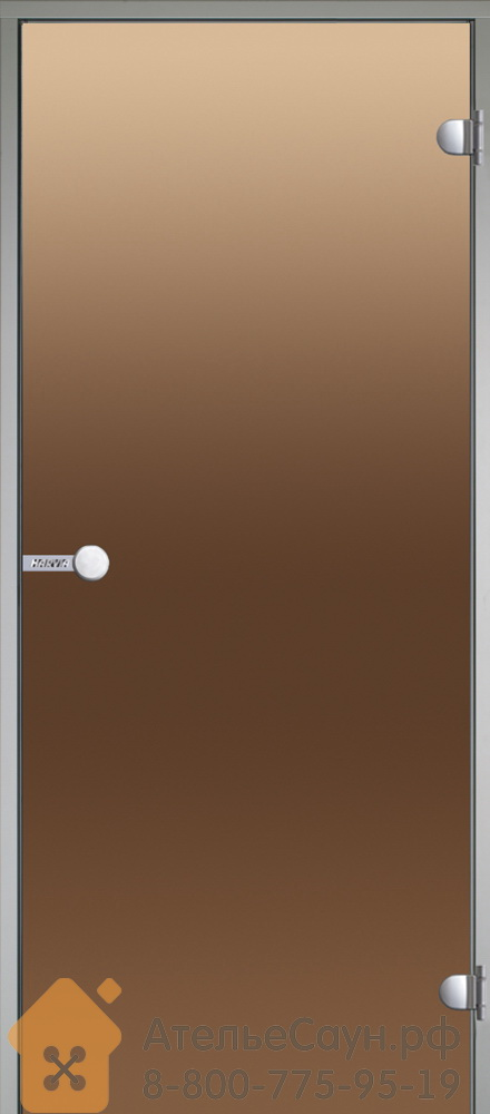 Дверь для турецкой парной Harvia 8х19 (стеклянная, бронза, коробка алюминий), DA81901