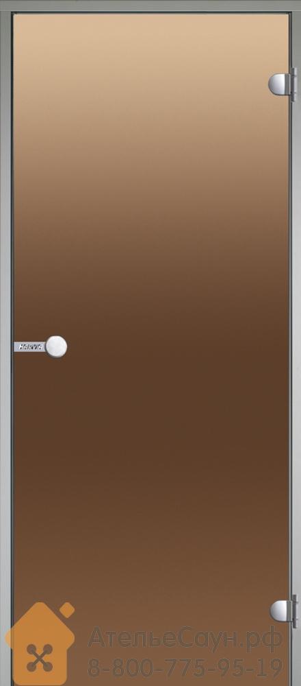 Дверь для турецкой парной Harvia 9х19 (стеклянная, бронза, коробка алюминий), DA91901