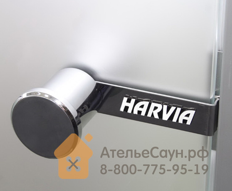 Дверь для турецкой парной Harvia 9х19 (стеклянная, сатин, коробка алюминий), DA91905