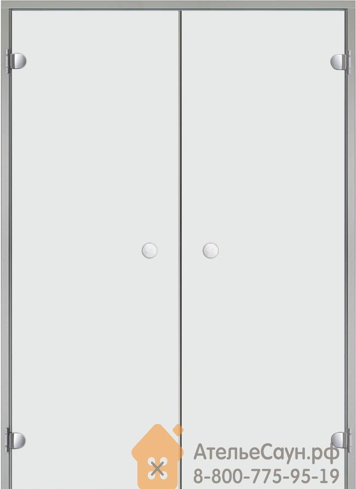 Дверь для турецкой парной Harvia 13х19 (двойная, прозрачная, коробка алюминий)